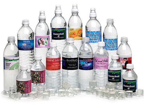 labeled water bottles