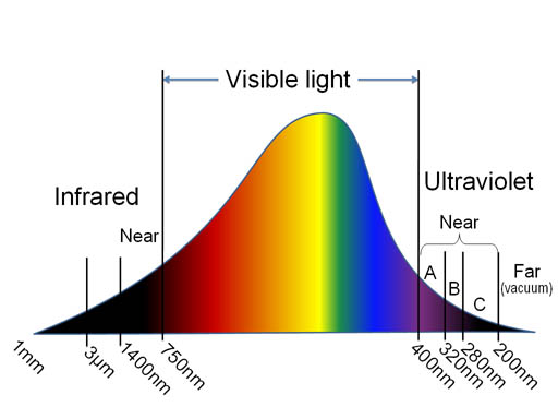 2855927c5c Visible light has wavelengths between 750 nanometers (a billionth of a  meter) and 400 nanometers. UV light has shorter wavelengths.