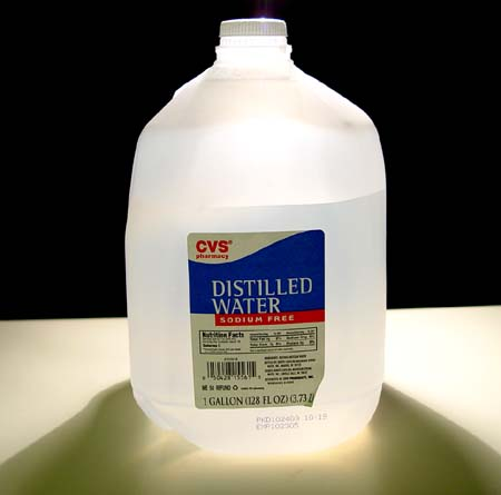 Distilled water: This is not